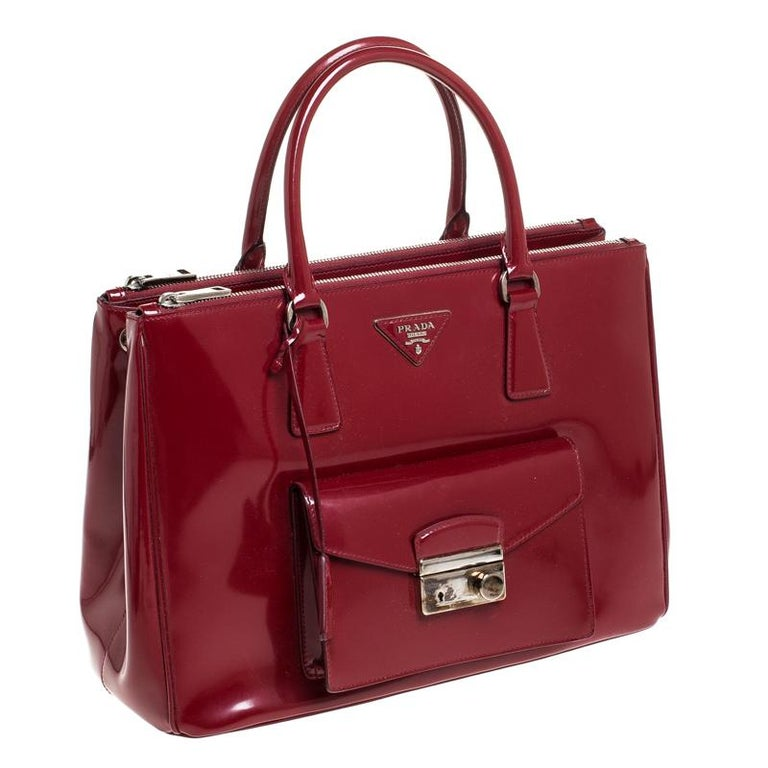 Women's Prada Red Patent Leather Front Pocket Double Zip Lux Tote For Sale