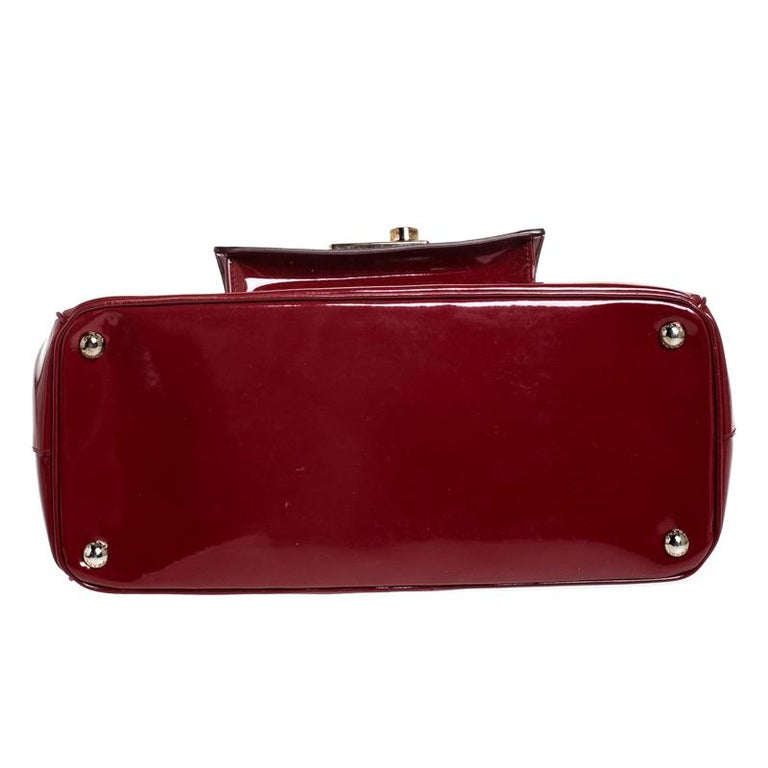 Prada Red Patent Leather Front Pocket Double Zip Lux Tote For Sale 1