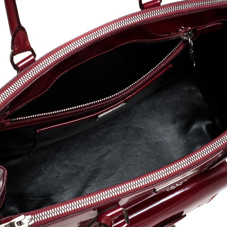 Prada Red Patent Leather Front Pocket Double Zip Lux Tote For Sale 3