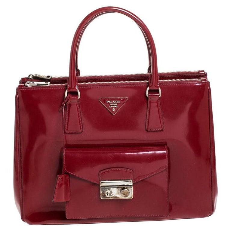 Prada Red Patent Leather Front Pocket Double Zip Lux Tote For Sale