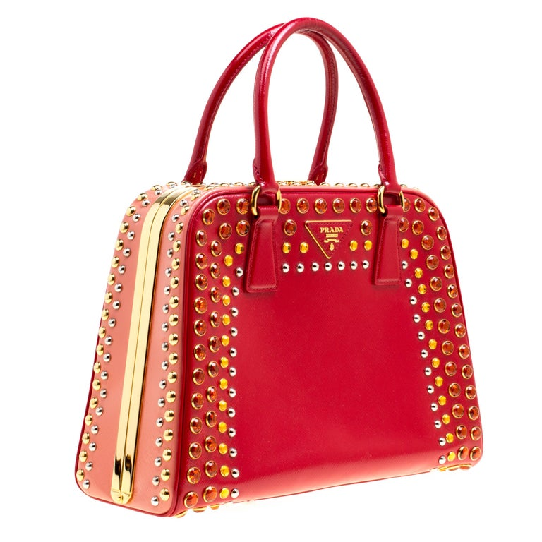 Women's Prada Red Patent Leather Pyramid Frame Top Handle Bag For Sale