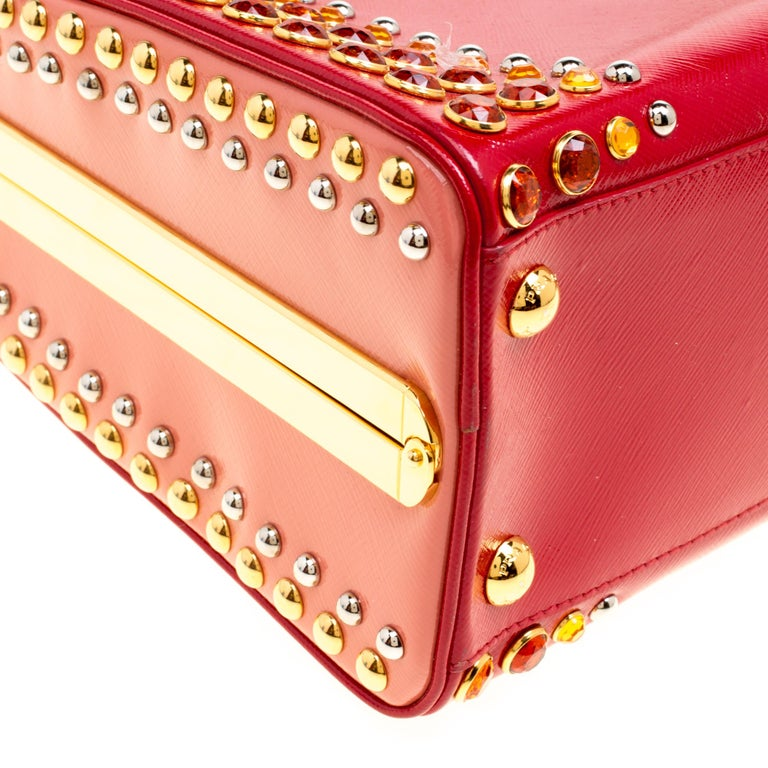 Prada Red Patent Leather Pyramid Frame Top Handle Bag For Sale 5