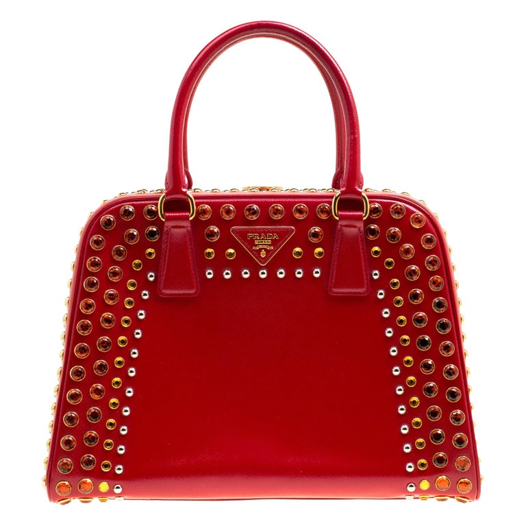 Prada Red Patent Leather Pyramid Frame Top Handle Bag For Sale
