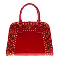 Prada Red Patent Leather Pyramid Frame Top Handle Bag