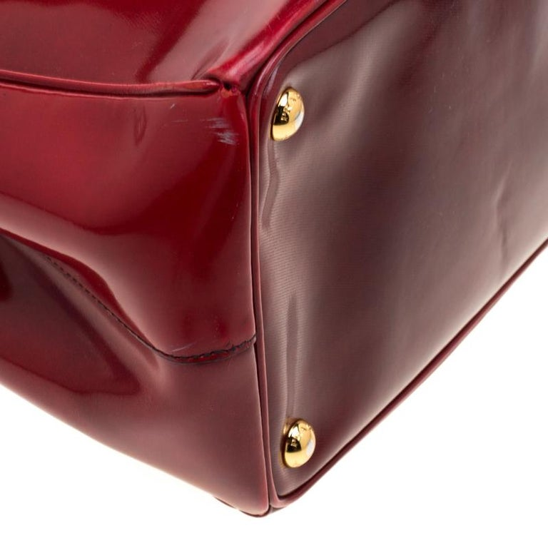 Prada Red Patent Spazzolato Leather Large Double Zip Tote For Sale 3