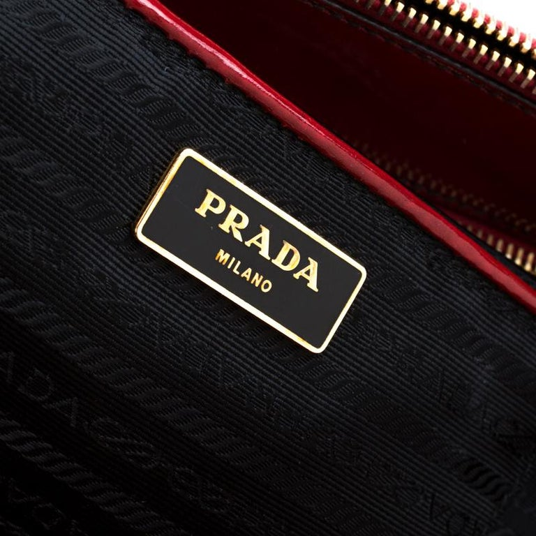 Prada Red Patent Spazzolato Leather Large Double Zip Tote For Sale 4