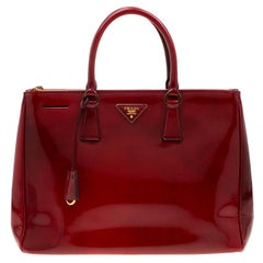 Prada Red Patent Spazzolato Leather Large Double Zip Tote