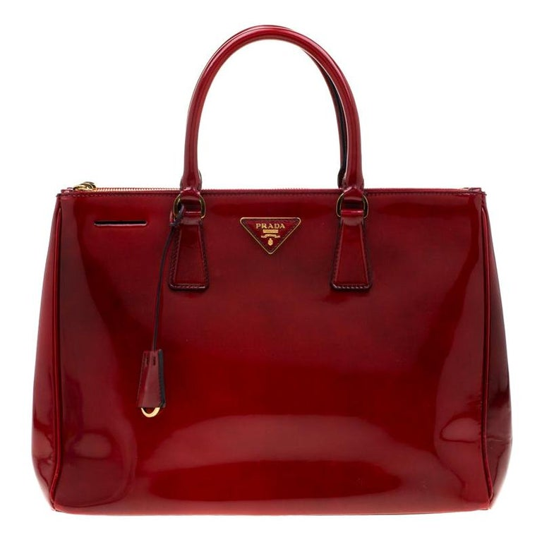 Prada Red Patent Spazzolato Leather Large Double Zip Tote For Sale