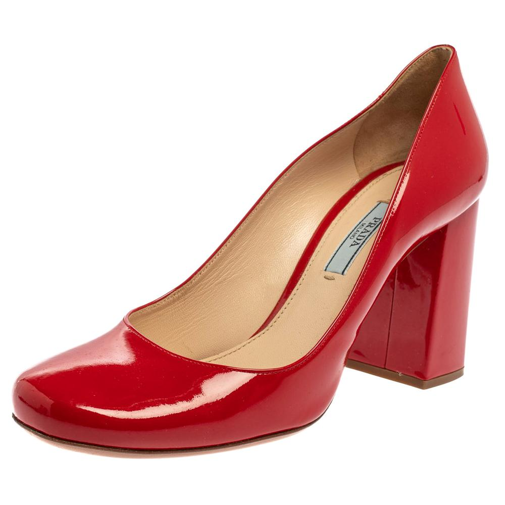 Prada Red Patent Square Toe Block Heel Pumps Size 38