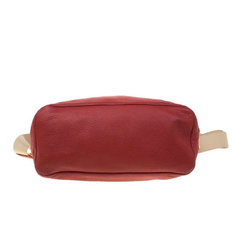 Women's Prada Red Pebbled Leather Messenger Bag For Sale