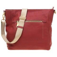 Prada Red Pebbled Leather Messenger Bag