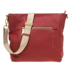 Prada Red Pebbled Leather Messenger Bag