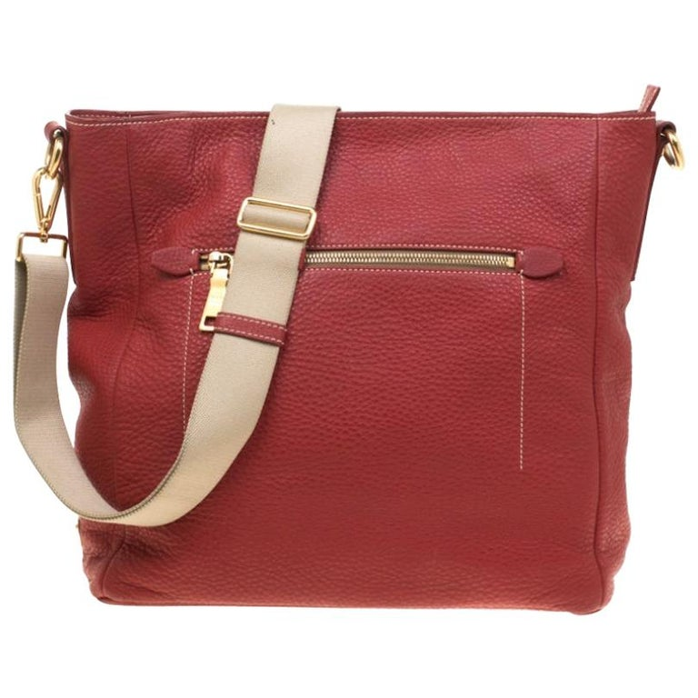 Prada Red Pebbled Leather Messenger Bag For Sale