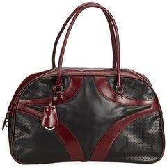 Prada Red Perforated Leather Boston Bag