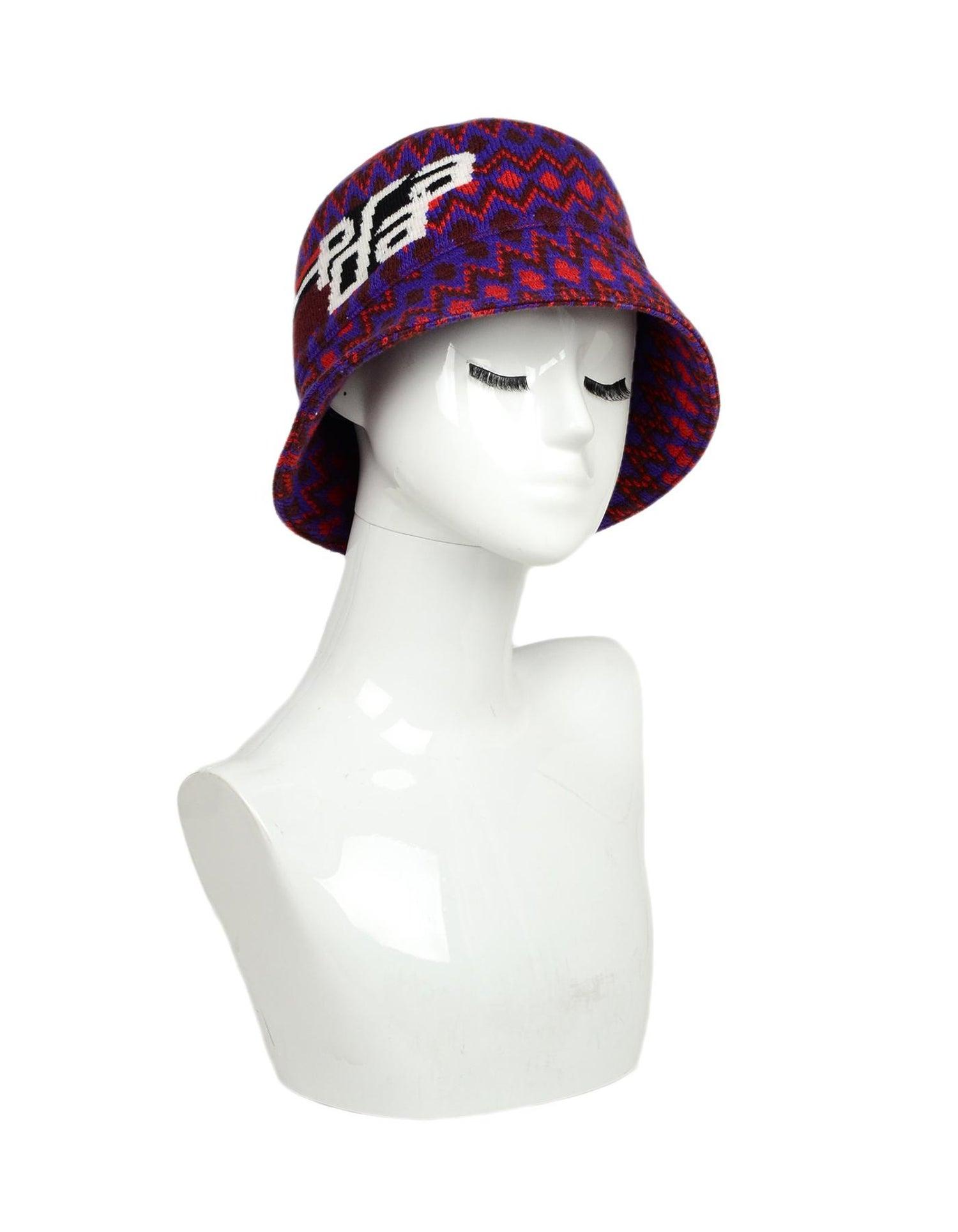 6b456c73fbf25 Prada Red Purple Cashmere Wool Chevron Motif Bucket Hat Sz M For Sale at  1stdibs