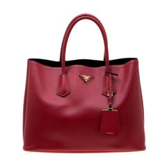 Prada Red Saffiano Cuir Leather Double Handle Tote