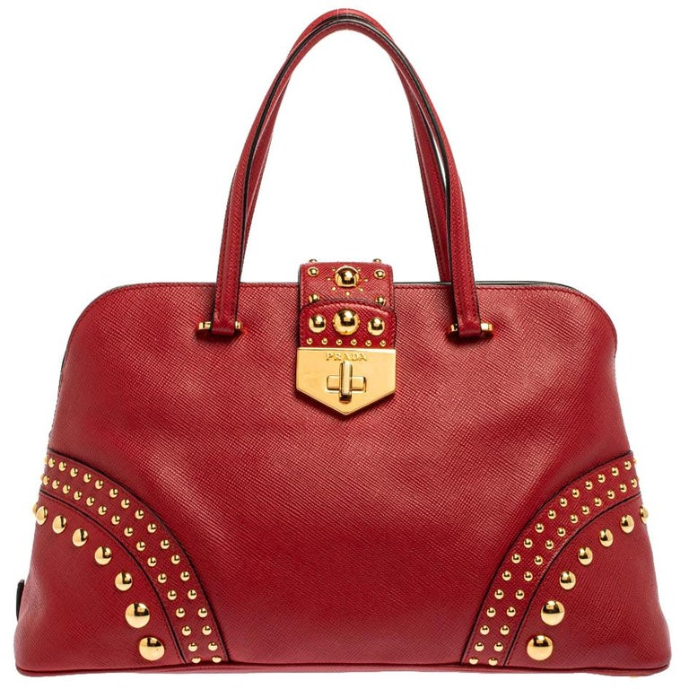 Prada Red Saffiano Cuir Leather Open Promenade Studded Bag For Sale