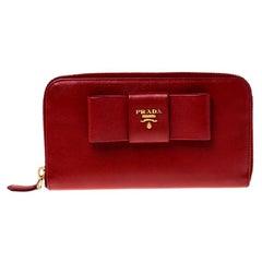 Prada Red Saffiano Leather Bow Zip Around Wallet