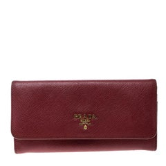 Prada Red Saffiano Leather Continental Wallet