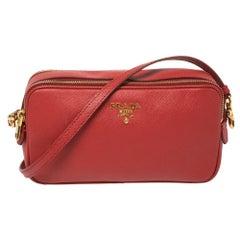 Prada Red Saffiano Leather Double Zip Crossbody Bag