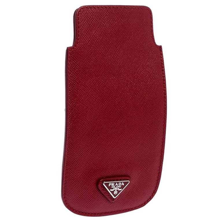 Prada Red Saffiano Leather iPhone Case For Sale 1