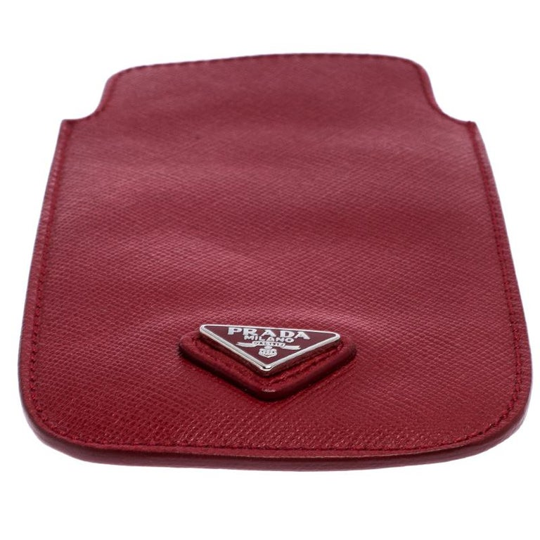 Prada Red Saffiano Leather iPhone Case For Sale 2