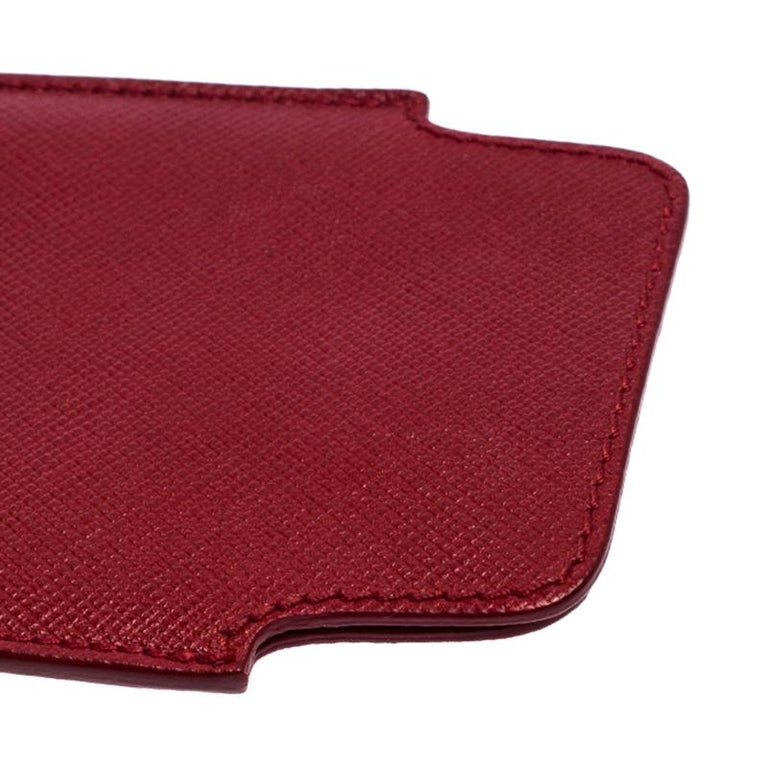Prada Red Saffiano Leather iPhone Case For Sale 4