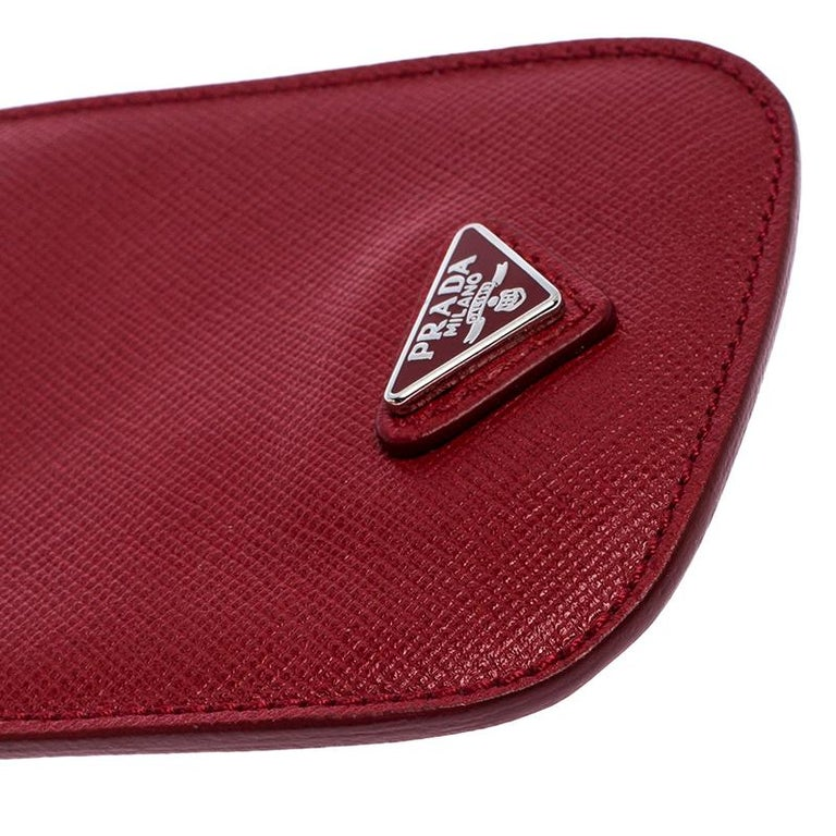 Prada Red Saffiano Leather iPhone Case For Sale 5