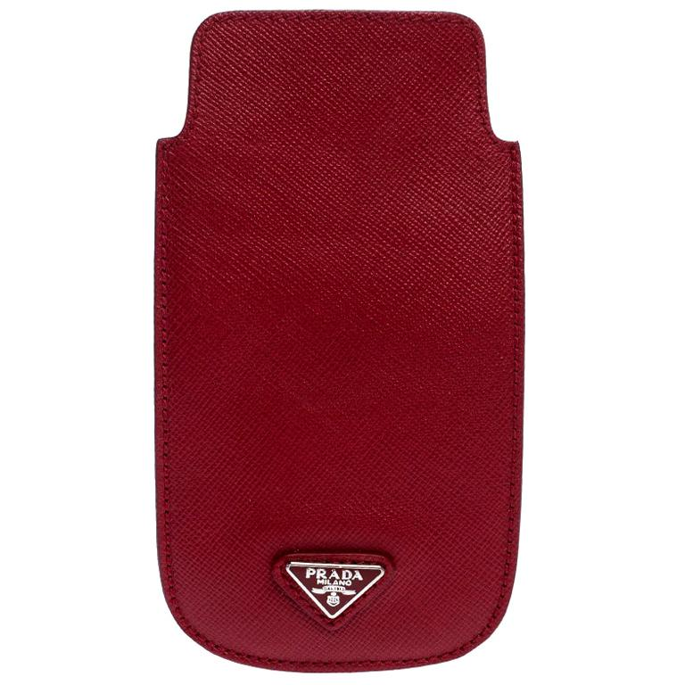 Prada Red Saffiano Leather iPhone Case For Sale