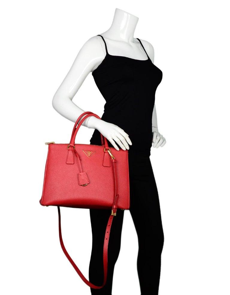 1e4510714dff Women's Prada Red Saffiano Leather Medium Galleria Double Zip Tote W/ Strap  For Sale
