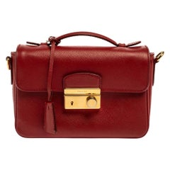 Prada Red Saffiano Leather Mini Sound Top Handle Bag