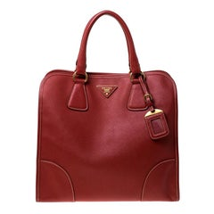 Prada Red Saffiano Leather Satchel