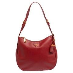 Prada Red Saffiano Leather Zip Hobo