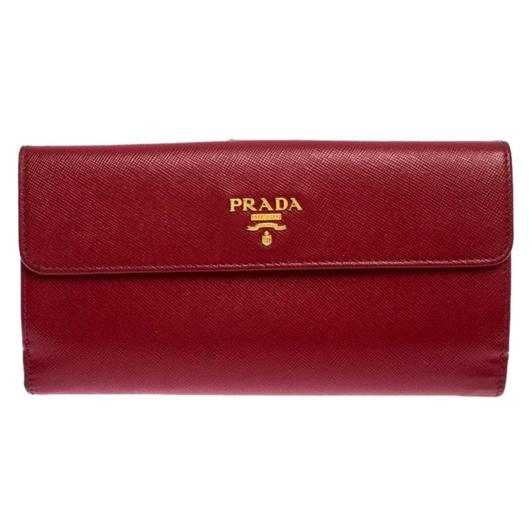 Prada Red Saffiano Lux Leather Flap Continental Wallet For Sale