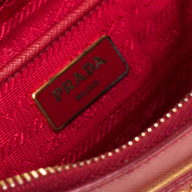 Prada Red Saffiano Lux Leather Large Double Zip Tote For Sale 8