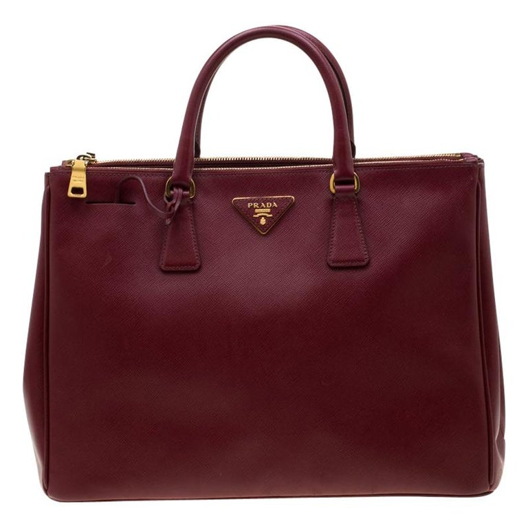 Prada Red Saffiano Lux Leather Large Double Zip Tote For Sale