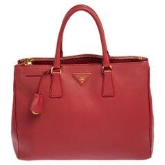 Prada Red Saffiano Lux Leather Large Galleria Tote