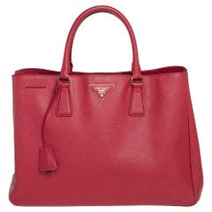 Prada Red Saffiano Lux Leather Large Gardener's Tote