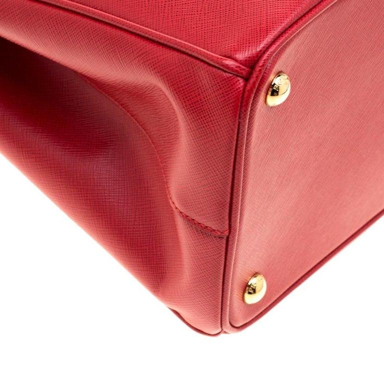 Prada Red Saffiano Lux Leather Medium Double Zip Tote For Sale 6