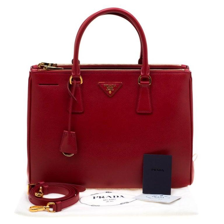 Prada Red Saffiano Lux Leather Medium Double Zip Tote For Sale 8