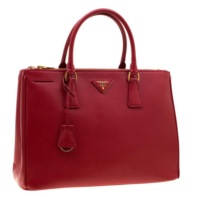 Women's Prada Red Saffiano Lux Leather Medium Double Zip Tote For Sale