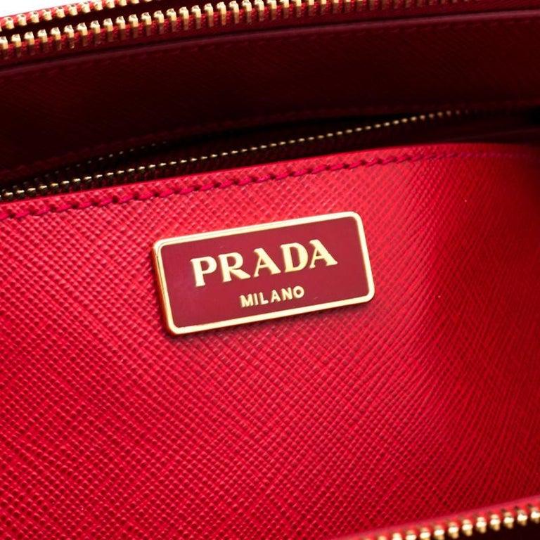 Prada Red Saffiano Lux Leather Medium Double Zip Tote For Sale 1