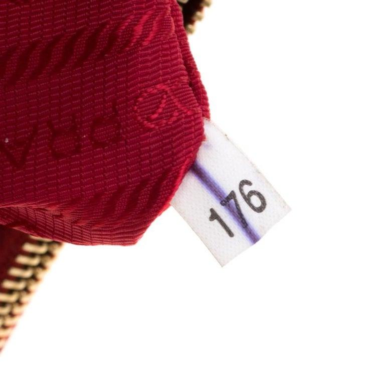 Prada Red Saffiano Lux Leather Medium Double Zip Tote For Sale 2