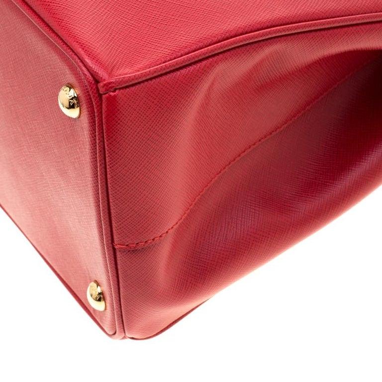 Prada Red Saffiano Lux Leather Medium Double Zip Tote For Sale 5