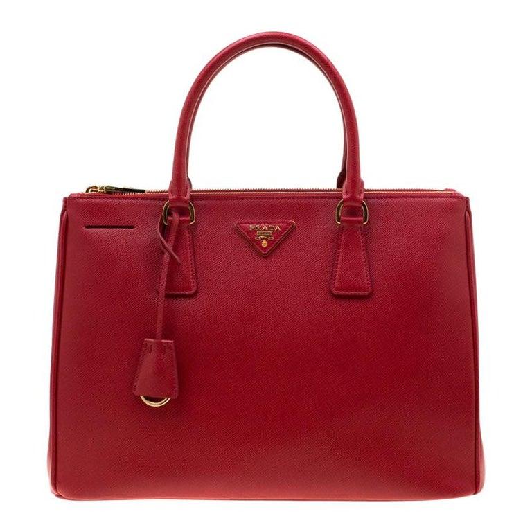 Prada Red Saffiano Lux Leather Medium Double Zip Tote For Sale