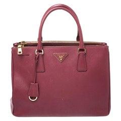 Prada Red Saffiano Lux Leather Medium Galleria Double Zip Tote