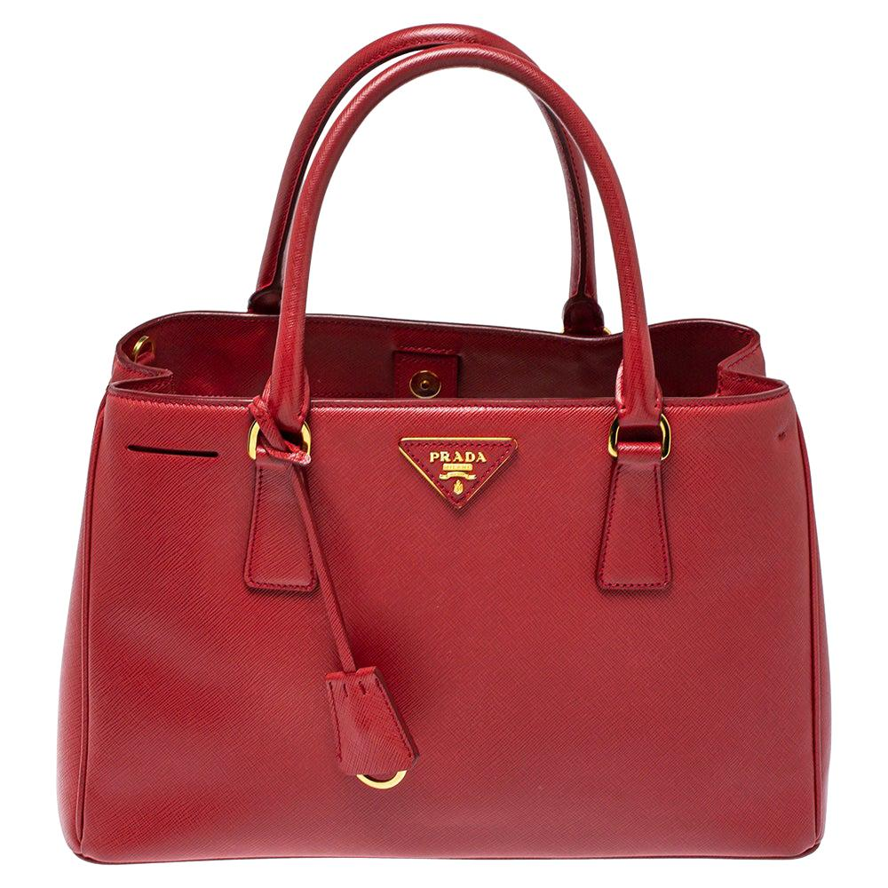 Prada Red Saffiano Lux Leather Medium Middle Zip Tote