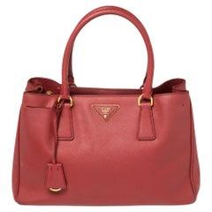 Prada Red Saffiano Lux Leather Medium Open Tote