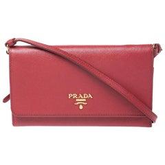 Prada Red Saffiano Lux Leather Mini Flap Crossbody Bag