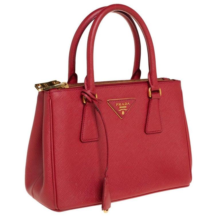 Women's Prada Red Saffiano Lux Leather Mini Galleria Tote For Sale